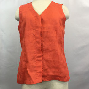 Orange Peach Sleeveless Linen Button Down Blouse
